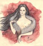 Sketch - nude doll in fur