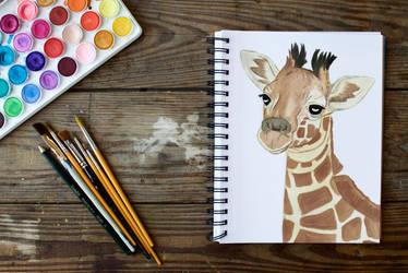 Baby Giraffe painting by OneLittleDot