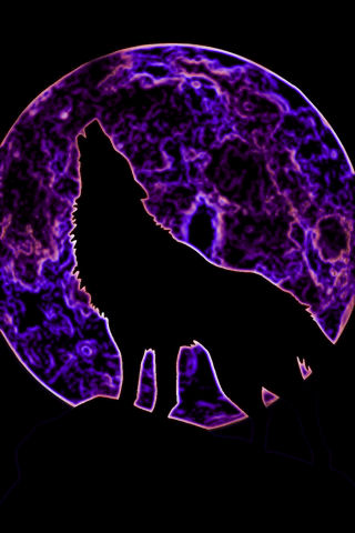 Neon Howling Wolf By Deathadda22