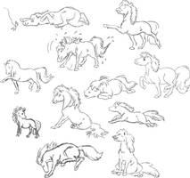 sketches of ponies by Vikarus