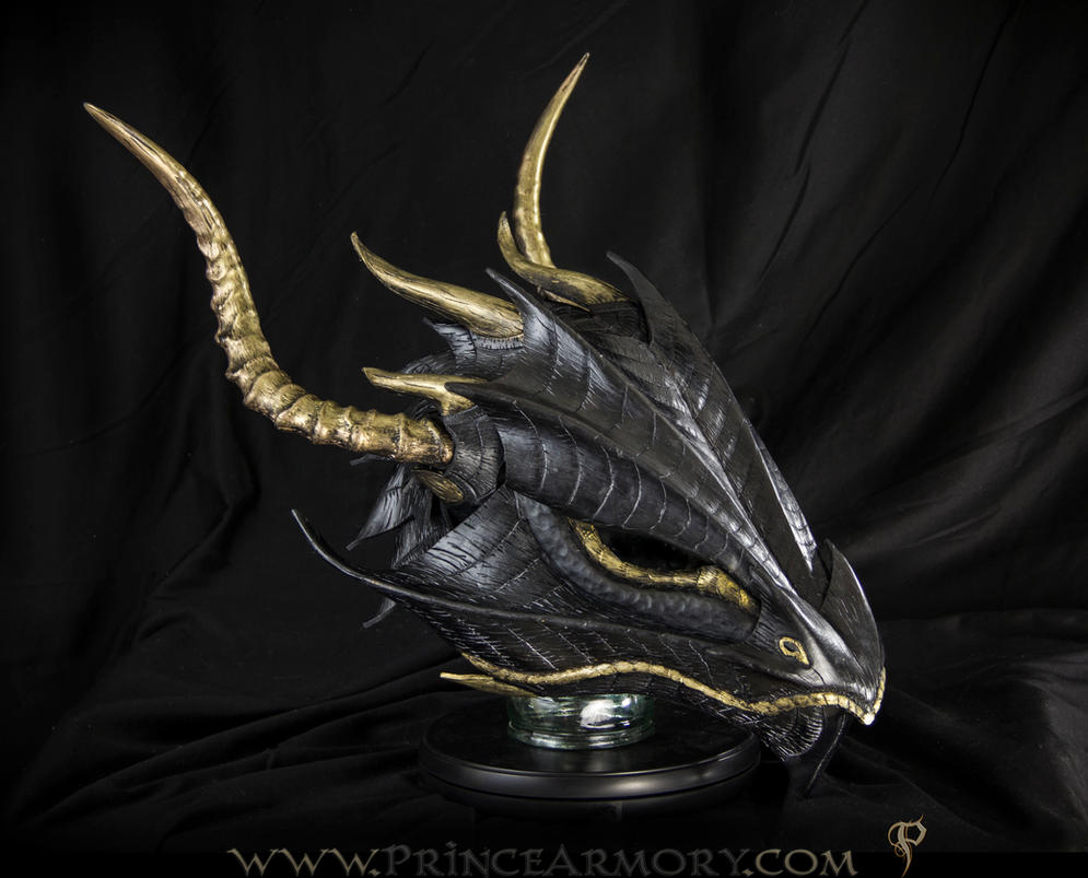 Black and Gold Dragon Helmet by Azmal