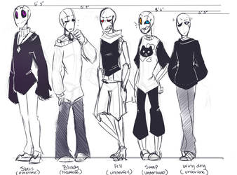 Gaster gang Height chart by Bunnymuse