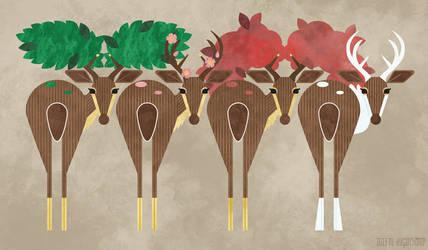 Sawsbuck through the Seasons by m-dugarchomp
