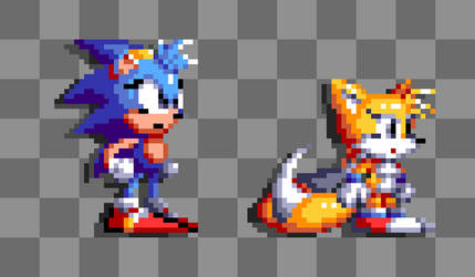 Female Sonic And Tails Sprites by ZanaGB