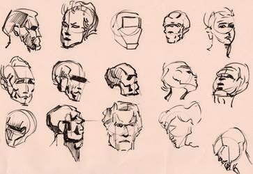 Figure Studies 16(heads) by lubu-art