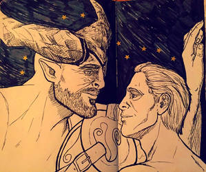 Inktober - The Iron Bull + Seb by Mutantenfisch