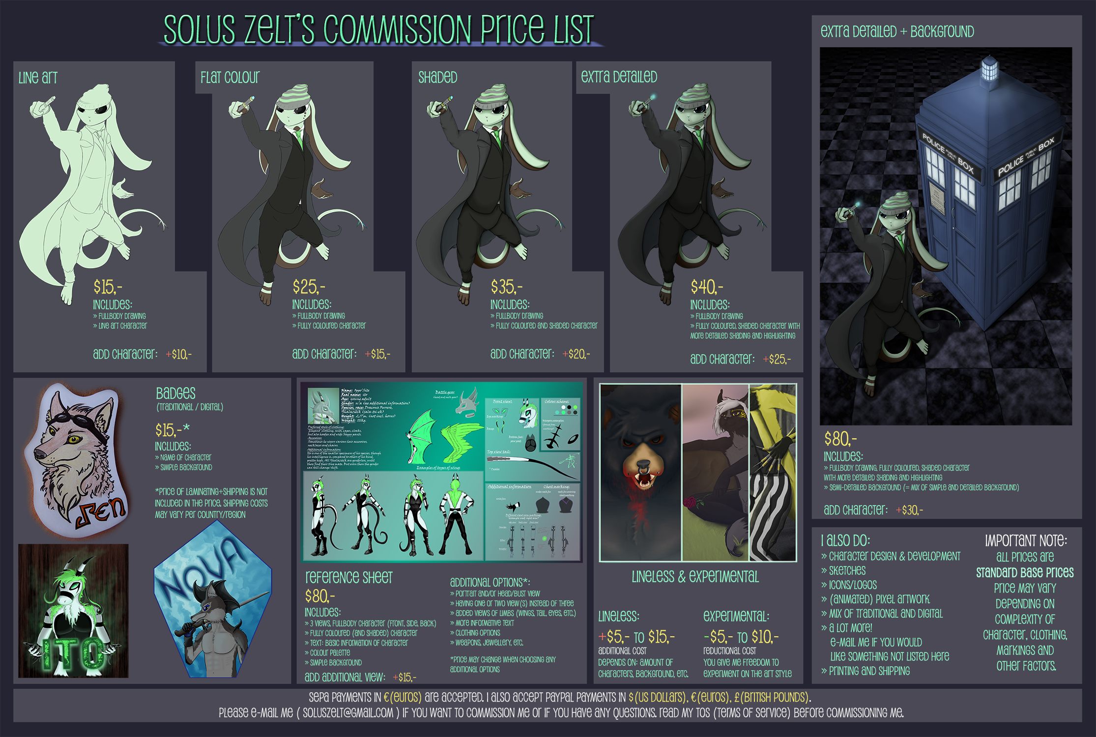 Commission Price List Sheet