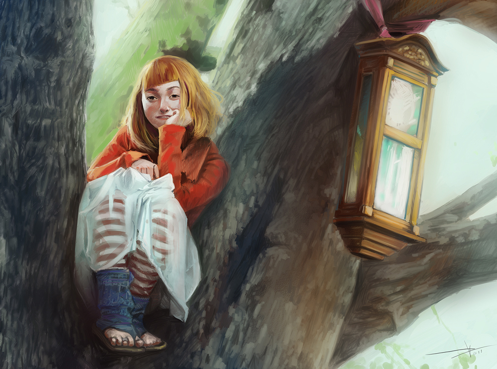 Girl sitting on a tree by Oission