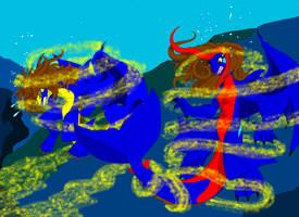 Dragons go swimming by JoeltheSwedishDragon