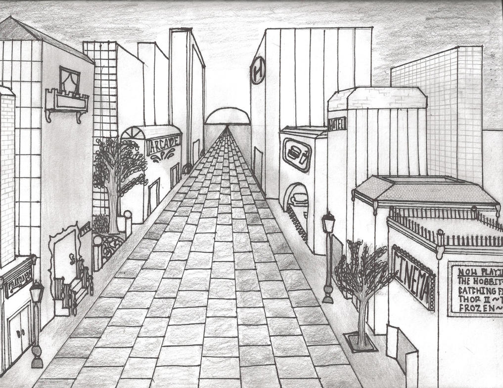 City in 1 pt perspective by keepcalmandbacon on deviantart for 2d building drawing