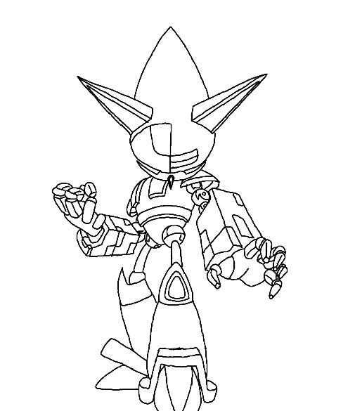 Mecha sonic mechanical metal monochrome natsumemetalsonic for Metal sonic coloring pages