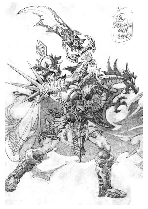 Female Warrior Pencil Drawings
