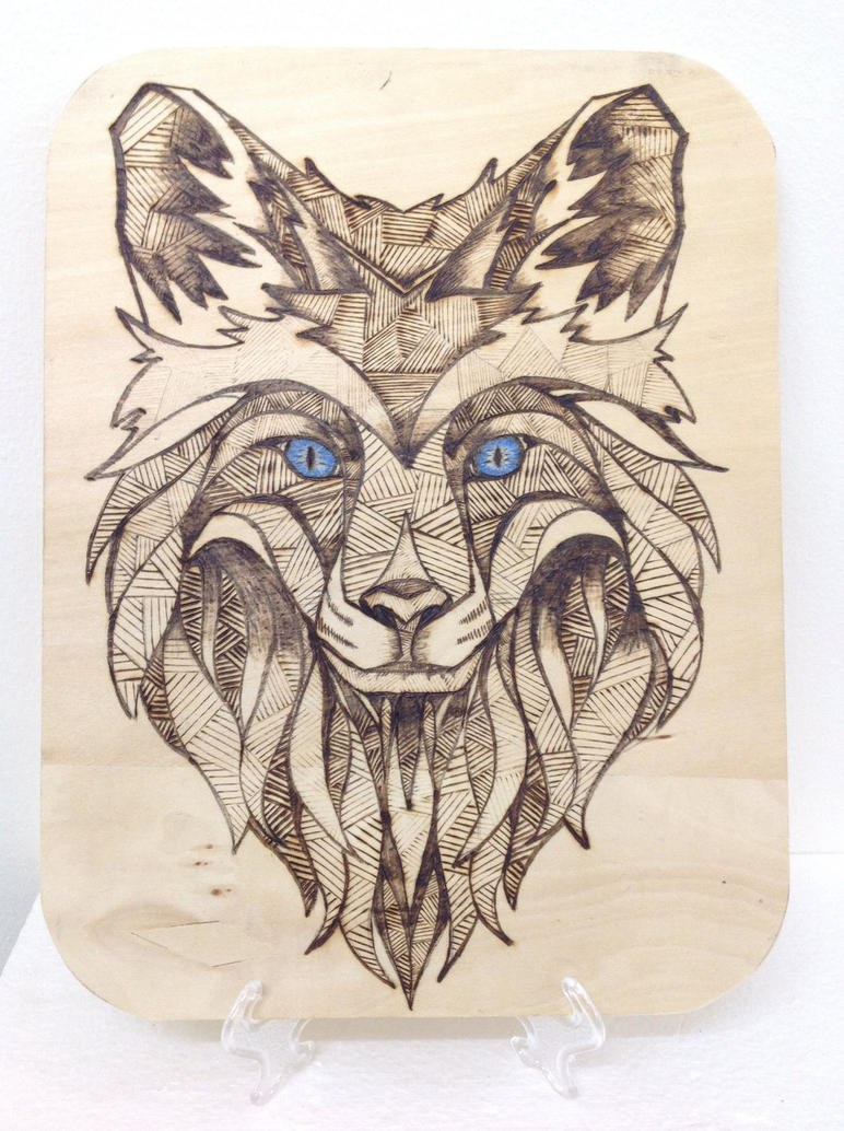 Wolf face using Pyrography  by SmilingWood