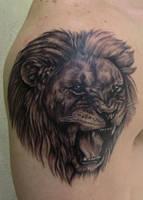 Lion On chest by JakubNadrowski