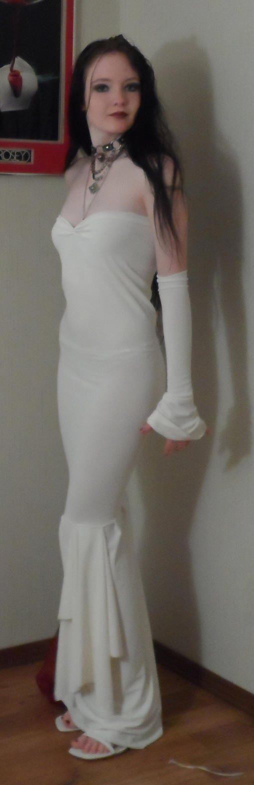 White fishtail dress by GothicRavenMidnight