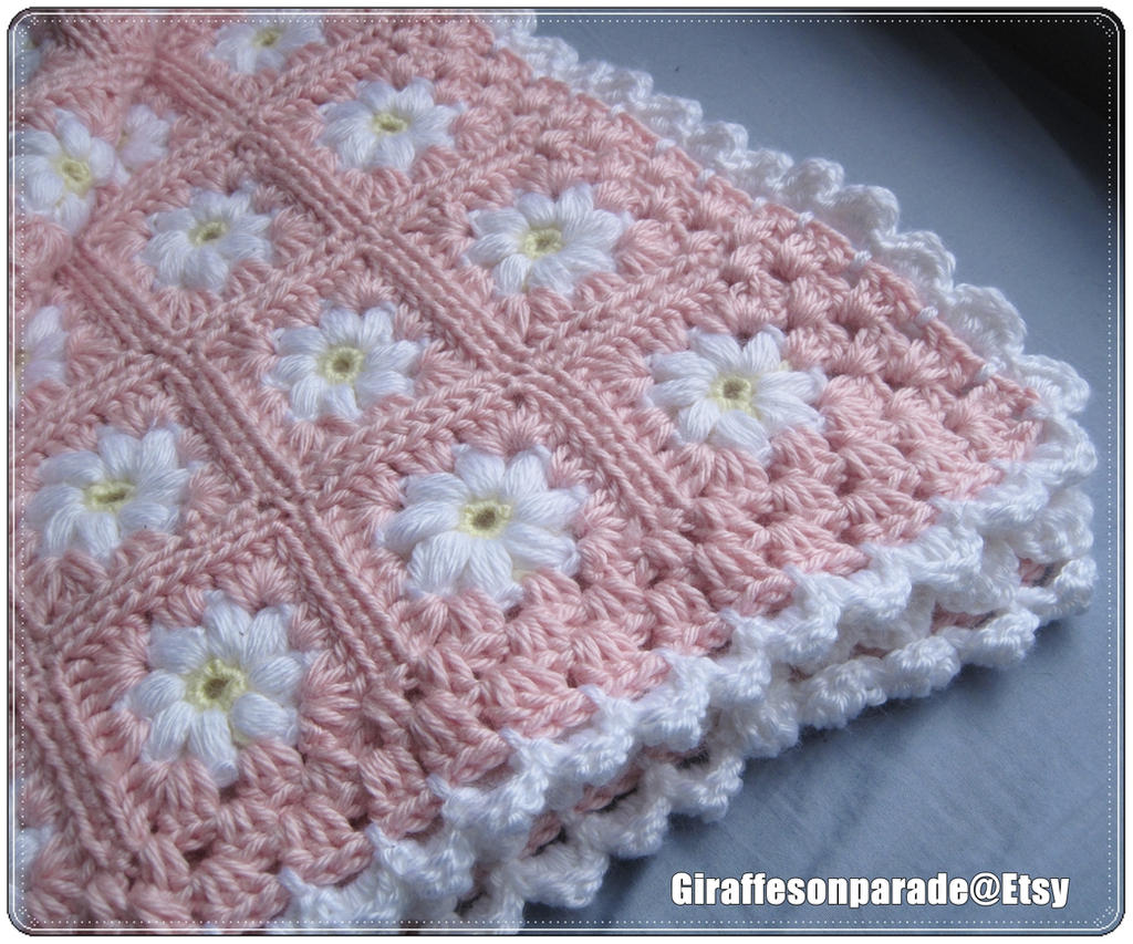 Pink and White Daisy Baby Blanket by giraffesonparades on DeviantArt