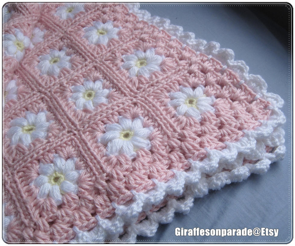 Crochet Daisy Baby Blanket Pattern : Pink and White Daisy Baby Blanket by giraffesonparades on ...