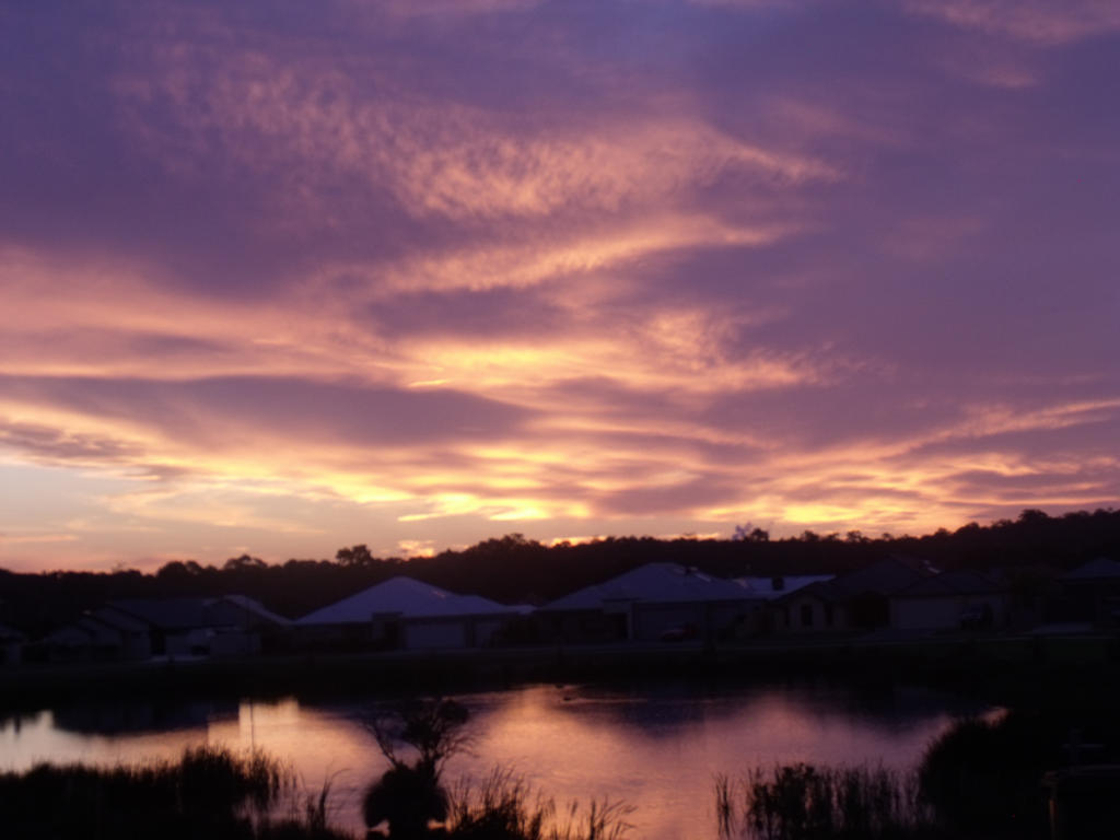 Sunset over Lake by TrashImagination