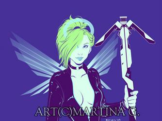 .Commission: cyberpunkmercy. by Martina-G