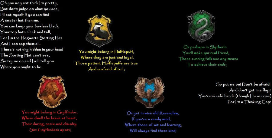 The sorting hat song by woudln on deviantart for First house music song