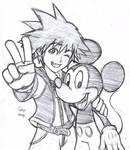 Sora and Mickey Sketch