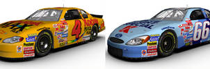 Two 2001 NASCAR Winston Cup cars