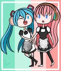 :: Miku and Luka (Maids) :: by otakufood-jaja