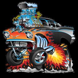 Classic hot rod 57 gasser drag racing muscle car