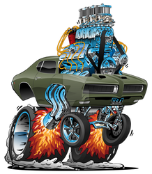 Classic GTO American Muscle Car Hot Rod Cartoon