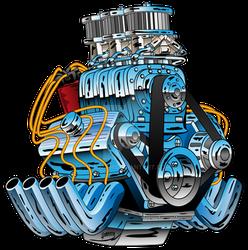 Hot Rod Race Car Dragster Engine Cartoon