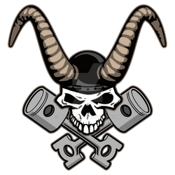 Skull with horns and crossed pistons