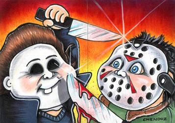 2014 Custom GPK of Micheal Myers VS Jason Voorhees by Chenduz