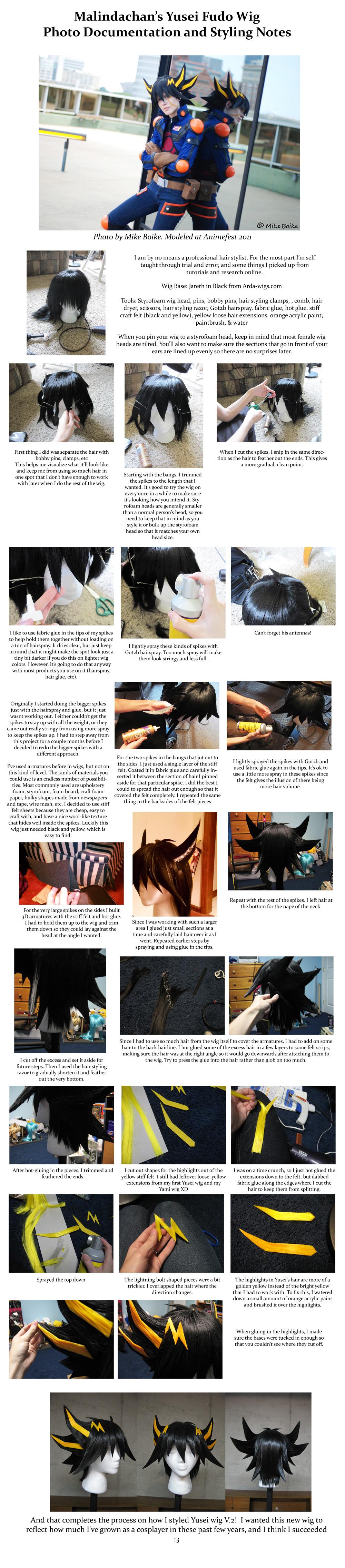 Yusei Fudo Wig tutorial v2 by Malindachan