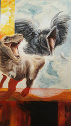 Dinosaur Bird Painting by Tibbles4684