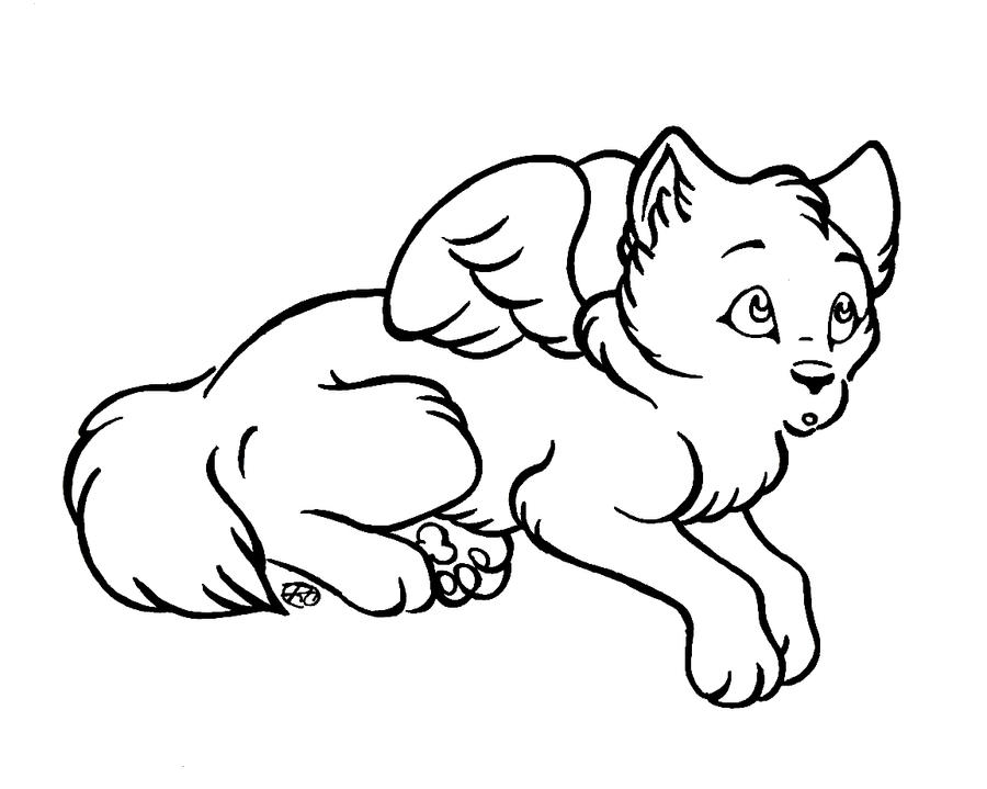 Chibi Winged Wolf Lineart by Loco-Lu on DeviantArt
