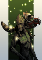 Woodman and Raccoon the Boy Wonder by friendswithfangs