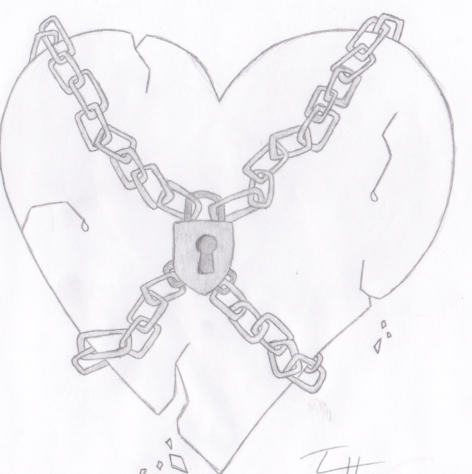 Simple Heart Line Art : The gallery for gt easy drawings of broken hearts with wings