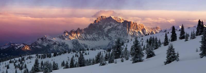 A winter wonderland - evening light on Civetta