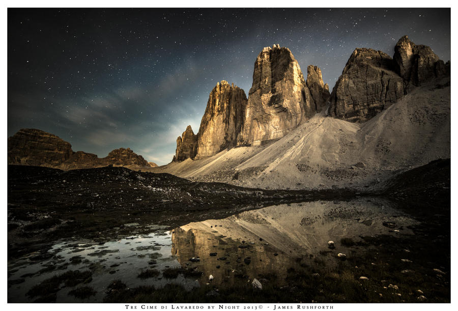 The Tre Cime di Lavaredo by Night by JamesRushforth