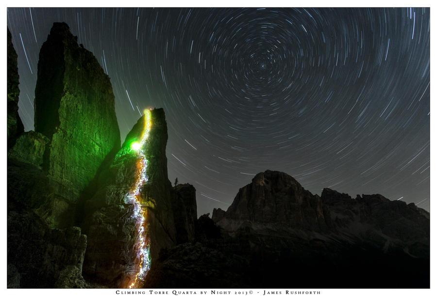 Climbing at Cinque Torri by night by JamesRushforth