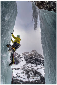 Ice climbing above Colfosco