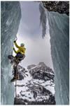 Ice climbing above Colfosco