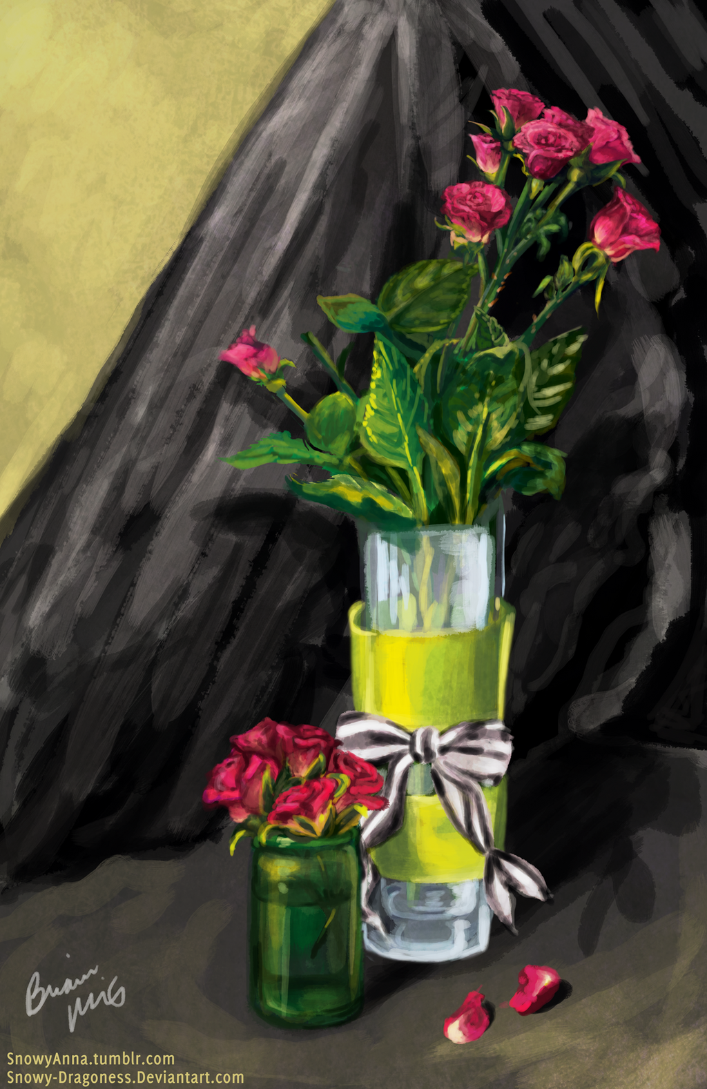 Pink Roses in a Vase by Snowy-Dragoness