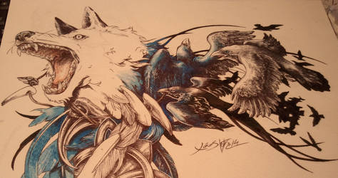 Tatto design: wolf and crows WIP II