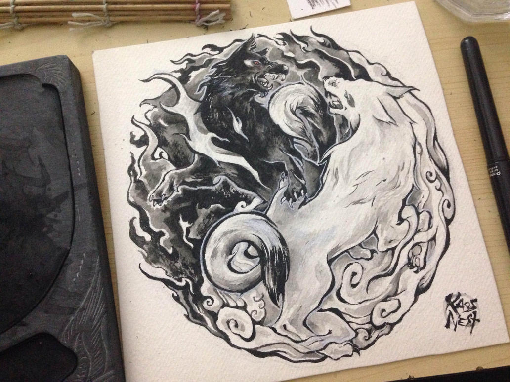Yin yang wolves tattoo design by kaos nest on deviantart for Dragon and wolf tattoo