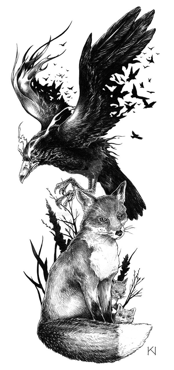 Raven Fox Tattoo Design Kaos Nest Deviantart