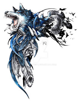 Wolf and raven tattoo design