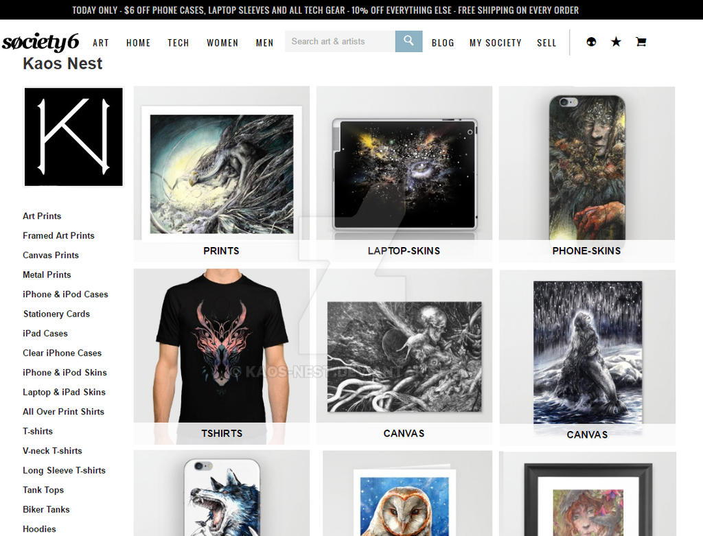 Society6 kn shop ends today offer by kaos nest on deviantart for Websites similar to society6