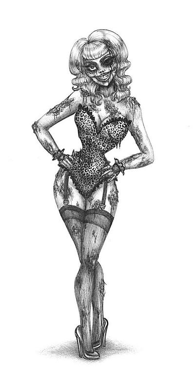 Zombie Pin Up Tattoo I by love-and-commissions