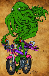 Cthulhu riding a bike1 by JeffHSPANDD